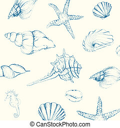 Vector Seashells - Vector Illustration of Hand-drawn...