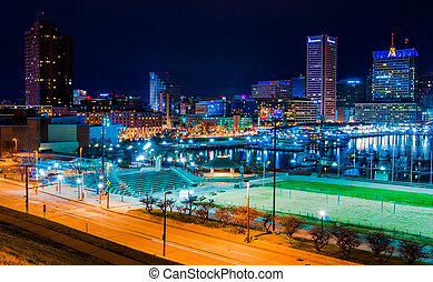 View of the Baltimore Inner Harbor and skyline during...