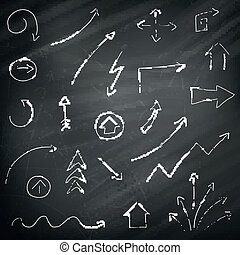 Vector Arrows on a Chalkboard Background - Vector...