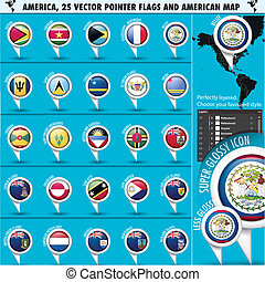 America Pointer Flag Icons with american Map set2 -...