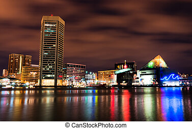 Long exposure of the colorful Baltimore skyline at night,...