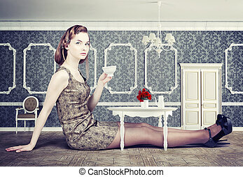 woman in little room - beautiful woman in little room drink...