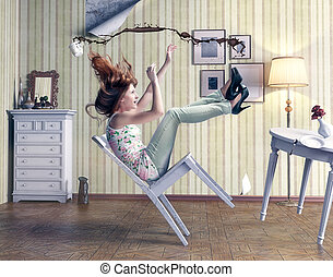 girl falls from a chair in vintage room