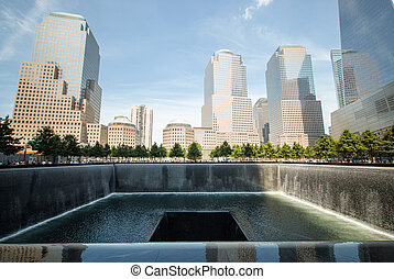 Waterfall Memorial Plaza - One of the waterfalls at the 911...