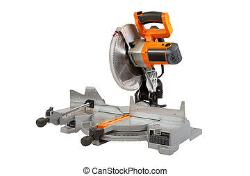 Compound Miter Saw - Compound miter saw isolated on a white...