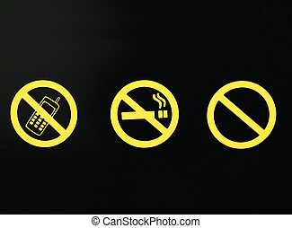 Sign - no smoking, calling, entry