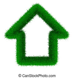 house from grass. Isolated 3D image