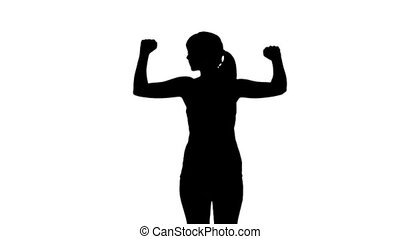 Silhouette of woman stretching arms on white background in...