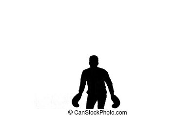 Silhouette of man jumping and boxing on white background in...