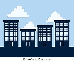 Apartment Building Silhouettes - Apartment building...
