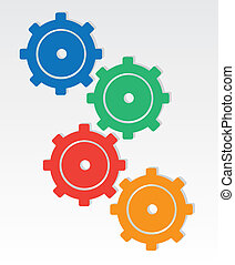Gear Colors  - Colored gears interlocking one another