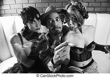 Retro man between two women. - Caucasian prime adult retro...
