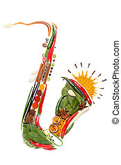 Spicy Sax. - Colourful sax made of condiments.