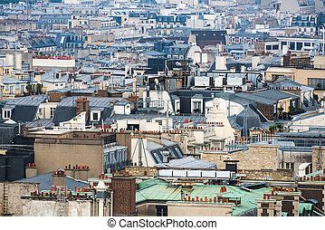 Paris rooftops aerial view, France