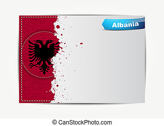 Stitched Albania flag with grunge paper frame for your text....