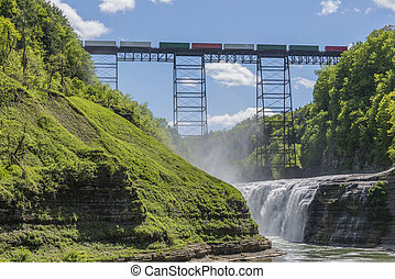 Railroad Trestle & Upper Falls At Letchworth State Park -...