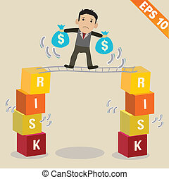 Cartoon Businessman with risk management concept - Vector...