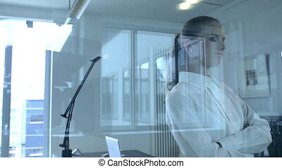 View of a businesswoman through a glass partition