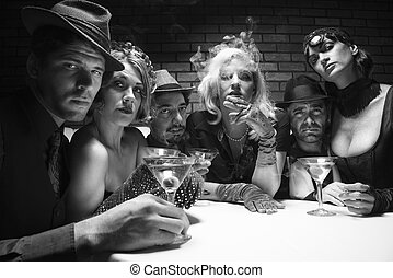 Retro group portrait - Group of Caucasian prime adult retro...