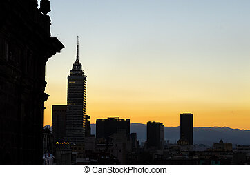 Mexico City Skyline Silhouette - Silhouette skyline of...