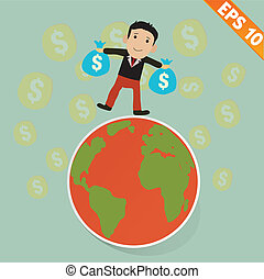 Cartoon Businessman on the earth and falling money - Vector illustration - EPS10