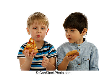 What kind of Pizza You Eating - One Little Boy Eating Pizza...