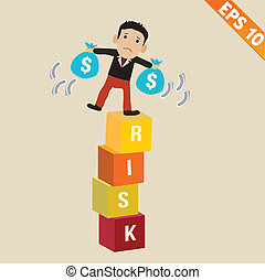 Cartoon Businessman stand on risk block - Vector...