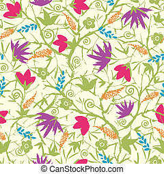 Painted blossoming branches seamless pattern background -...