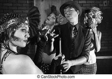 Retro group in pool hall. - Prime adult Caucasian retro...