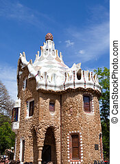Gaudi's building in Park Guell, Barcelona, Spain