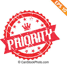 gummi, stämpel, hög, Prioritet, -, vektor,...