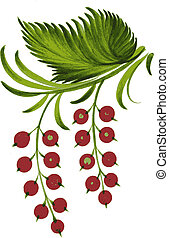 currant - hand drawn, vector, illustration in Ukrainian folk...