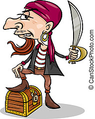 pirate with treasure cartoon illustration - Cartoon...