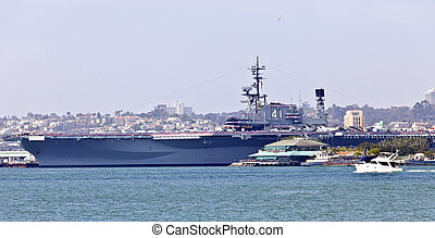 Aircraft carrier Battleship Midway in San Diego california....