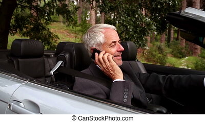 Happy businessman phoning in his car