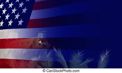 Heroes in Vietnam war - bstract render of flag USA and...