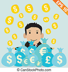 Cartoon Businessman with financial money - Vector...