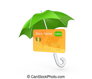 Credit card under green umbrella.Isolated on white.3d...