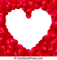 Frame in the shape of heart made ??of rose petals