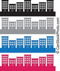Apartment Buildings Colors - Apartment buildings silhouettes...
