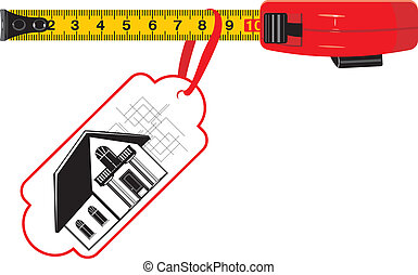 Measuring ruler with tag. Cottage for sale. Vector...