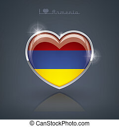 Armenia - Glossy heart shape flags of the Worlds: Republic...