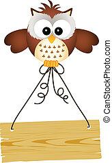 coruja, segurando, madeira, sinal
