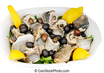 Boiled fish with olives and lemon