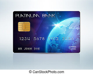 Credit card - Realistic vector credit card isolated on white...