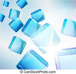 abstract background: falling blue cubes.
