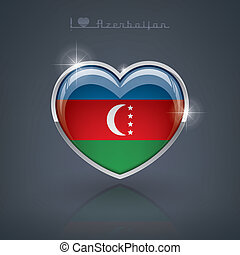 Azerbaijan - Glossy heart shape flags of the Worlds:...