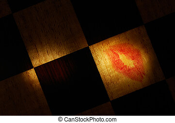 Message of love - Lipstick mark on a selectively illuminated...
