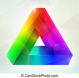 Impossible object Vector illusion - Colorful impossible...