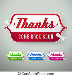 thank you labels. vector illustration - set of thank you...